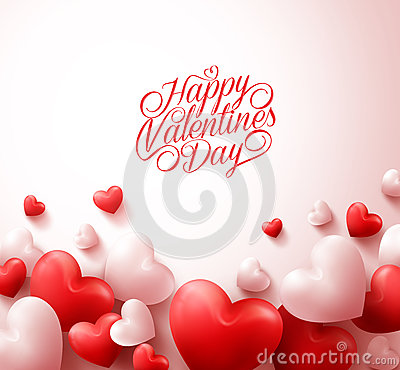 Free Happy Valentines Day Background With 3D Realistic Red Hearts Royalty Free Stock Photo - 64882545
