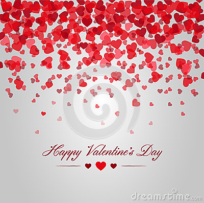 Free Happy Valentines Day. Card Of Red Hearts Falling Stock Photo - 48533520
