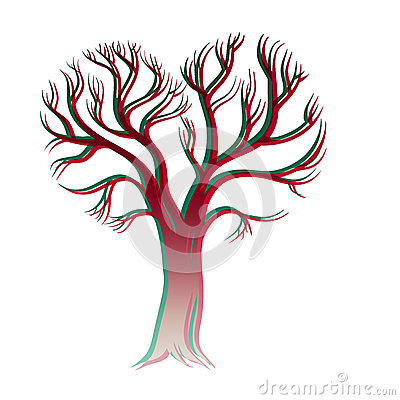Happy Valentines Day. Card with tree of love Vector Illustration