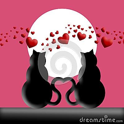 in love silhouette. CATS IN LOVE SILHOUETTE