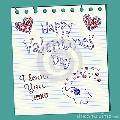 Free Happy Valentines Day Doodle On Notepaper Royalty Free Stock Photography - 28550387