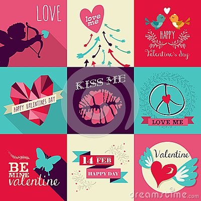 Free Happy Valentines Day Greeting Card Set Royalty Free Stock Image - 48875826