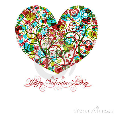 Free Happy Valentines Day Heart With Colorful Swirls Stock Photos - 17240963