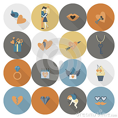Happy Valentines Day Icons Vector Illustration