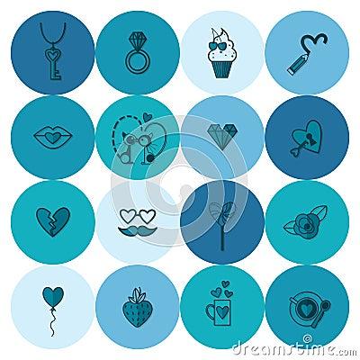 Happy Valentines Day Icons Vector Illustration