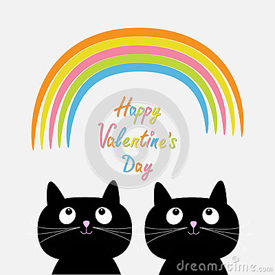 Free Happy Valentines Day. Love Card. Rainbow And Pink Heart Rain With Two Cute Cartoon Cats. Flat Design Style. Stock Image - 65221261