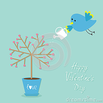 Happy Valentines Day. Love card. Tree in the pot. Heart flower. Bird with watering can. Blue background. Flat design Cartoon Illustration