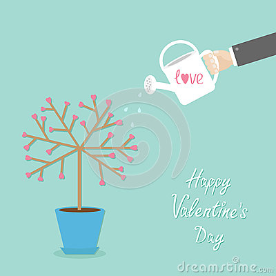 Happy Valentines Day. Love card. Tree in the pot. Heart flower. Hand with watering can. Blue background. Flat design Vector Illustration