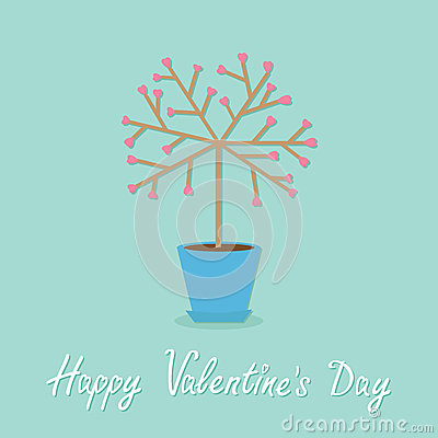 Happy Valentines Day. Love card. Tree in the pot. Heart flower. Word love Blue background. Flat design Vector Illustration