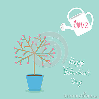 Happy Valentines Day. Love tree in the pot. Heart flower. Vector Illustration