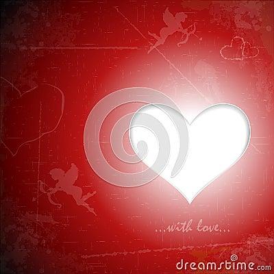 Happy Valentines Day paper heart on grunge