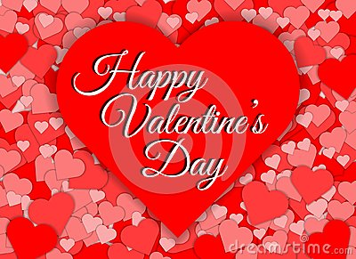 Happy valentines day red heart shape abstract background Vector Illustration