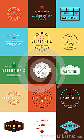 Happy Valentines Day. Trendy Retro Vintage Insignias Vector Illustration