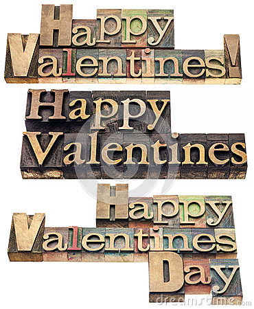 Happy Valentines in wood type