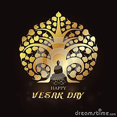 Free Happy Vesak Day - Gold Buddha Under Bodhi Tree And Lotus Art Vector Design Stock Image - 92115201