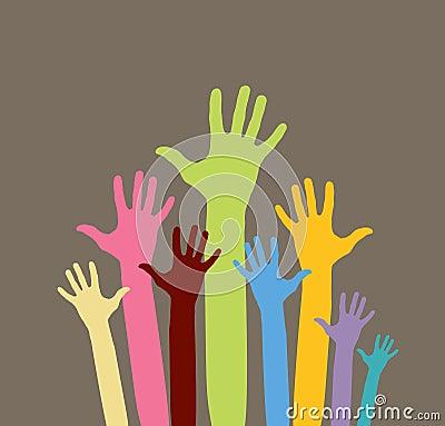 Happy volunteering hands
