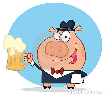 Happy waiter pig with beer