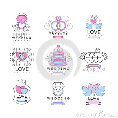 Happy wedding and love set for logo design, collection of colorful Illustrations Vector Illustration