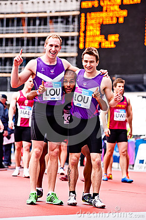 Happy winner athletes  Editorial Photo