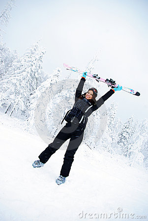 Happy winner female skier