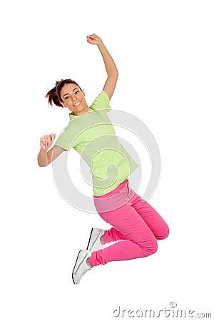 Happy winner girl jumping