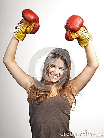 Happy winner. successs woman