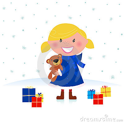 Happy winter blond child and christmas gift