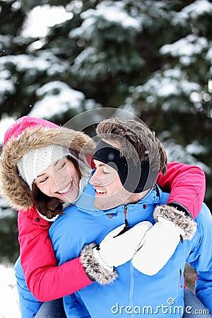 Happy winter couple fun