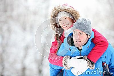 Happy winter travel couple