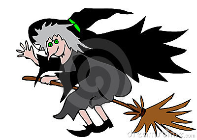 Happy witch on broomstick