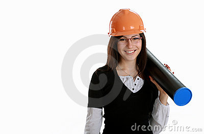 Happy woman architect with orange hardhat and tube