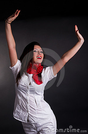 Happy Woman with Arms in Air