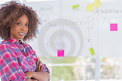 Happy woman with arms crossed in front of whiteboard