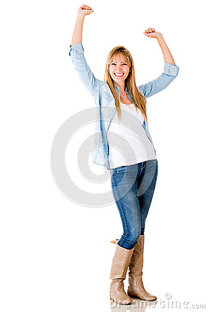 Happy woman with arms up