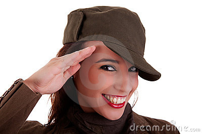 Happy woman army soldier saluting