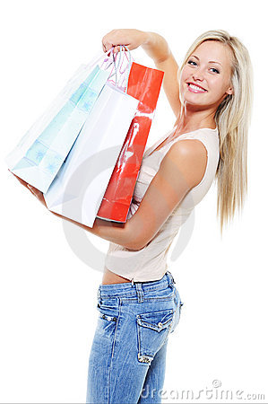 Happy  woman avter shopping present the purchases