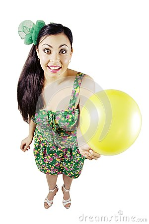 Happy woman with balloon