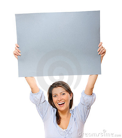 Happy woman with a banner
