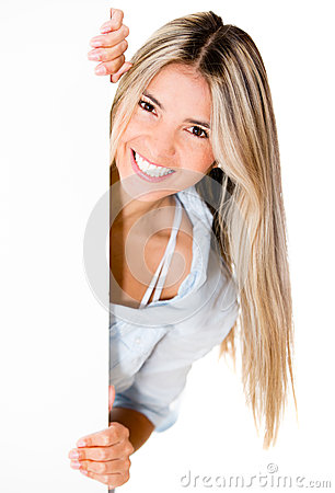 Happy woman with banner