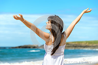 Happy woman on beach