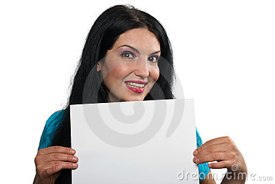 Happy woman with blank sign