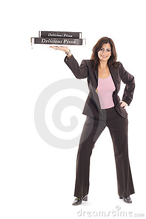 Happy woman in business suit holding pizzas