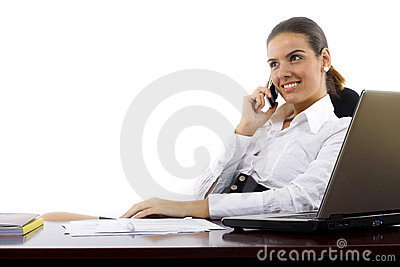 Happy woman calling on phone