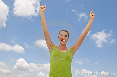 Happy Woman and Clouds