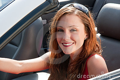 Happy Woman In Convertible