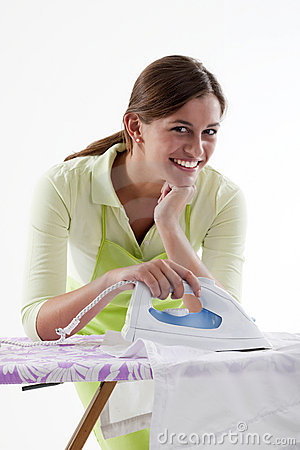Happy Woman Doing The Ironing
