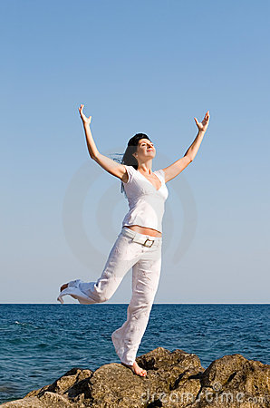 Free Happy Woman Dreams To Fly On Winds Stock Photos - 7536263