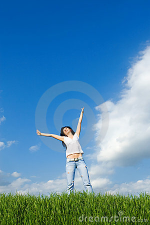 Free Happy Woman Dreams To Fly On Winds Royalty Free Stock Photo - 8596945