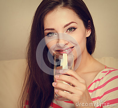 Free Happy Woman Drinking Pure Water. Royalty Free Stock Image - 41740706