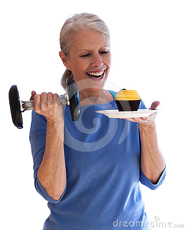 Happy Woman with Dumbbell and Cupcake